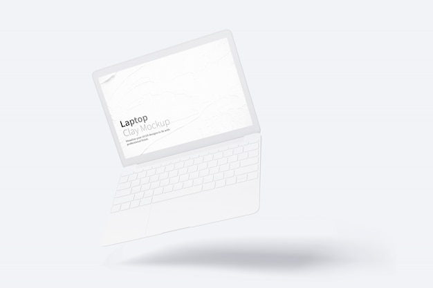 Clay laptop mockup, floating