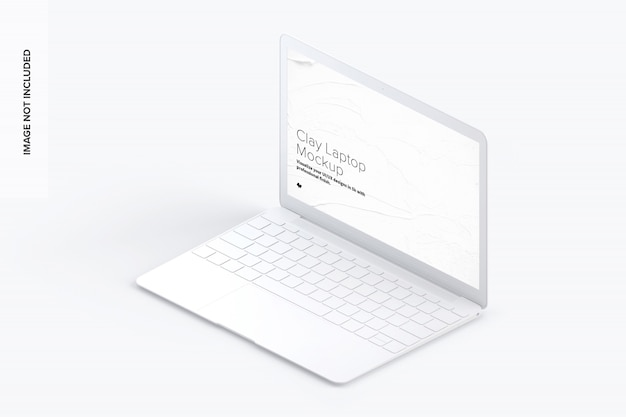 Clay laptop mockup, isometric right view