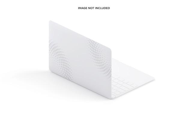 Clay laptop mockup isometrische achteraanzicht links