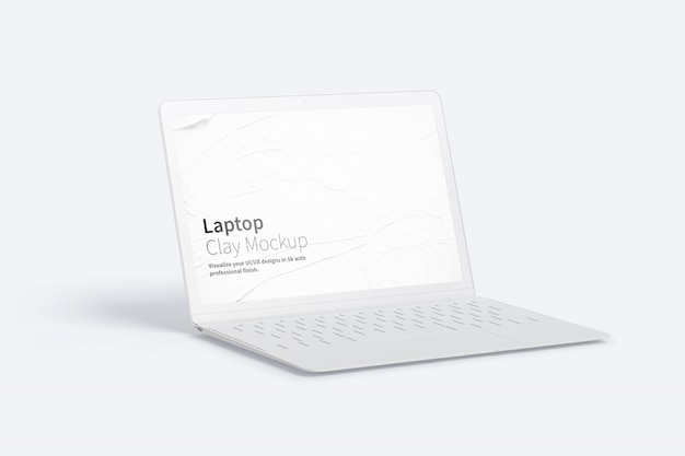 Clay laptop mockup, vista a sinistra