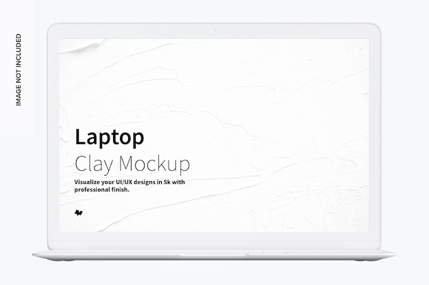 Clay laptop mockup vooraanzicht