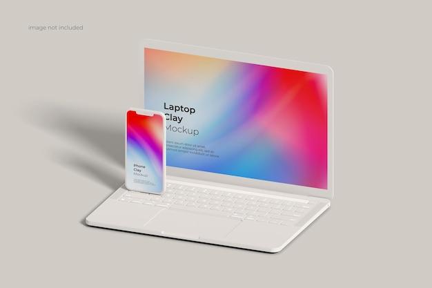Clay mockup voor laptop en smartphone