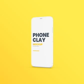Clay phone device standing mockup