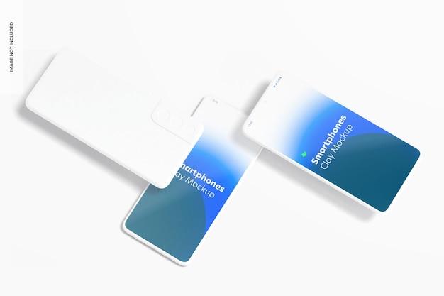 Clay smartphone mockup, bovenaanzicht