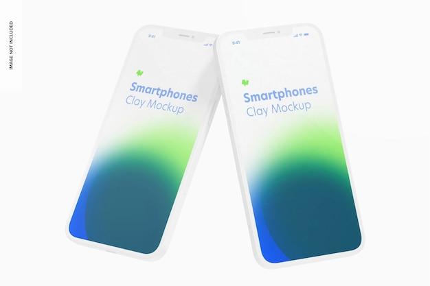 Clay smartphone mockup, drijvend