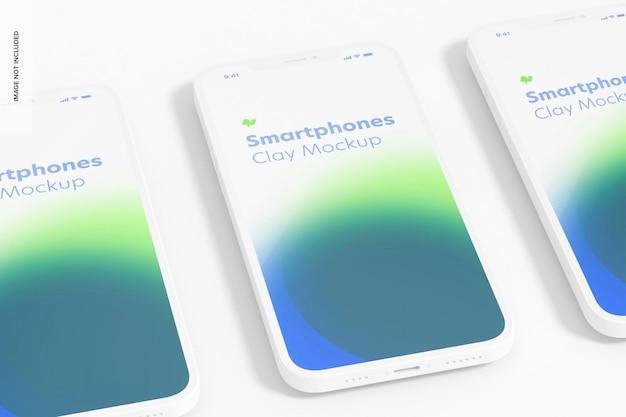 Clay smartphone model, close-up Premium Psd