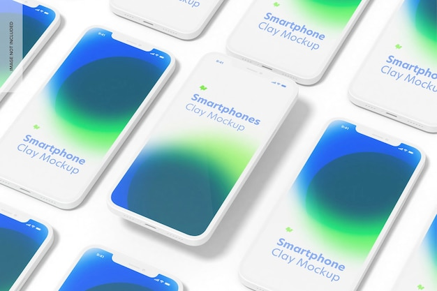 Clay smartphone set mockup