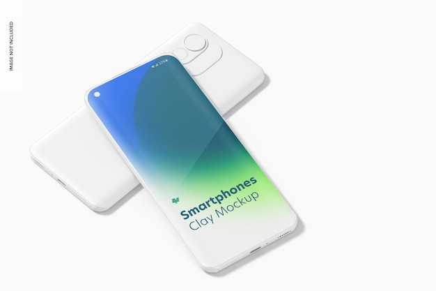 Clay smartphones mockup, perspectief