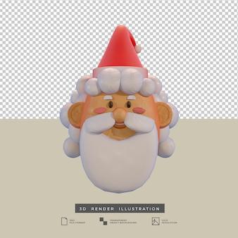 Clay stijl schattige kerst santa claus 3d illustratie geïsoleerd