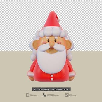Clay stijl schattige kerst santa claus 3d illustratie