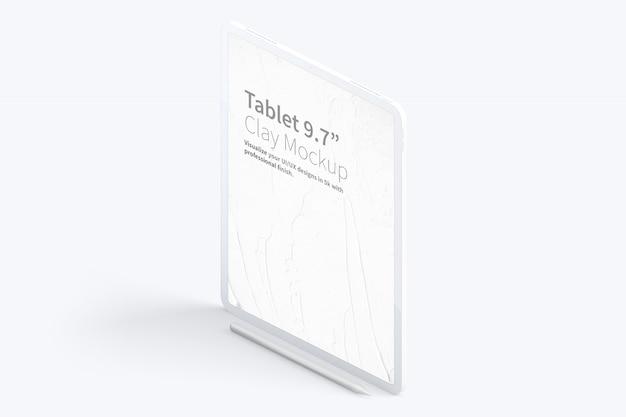 Clay tablet pro 12,9-inch mockup, isometrische linkeraanzicht