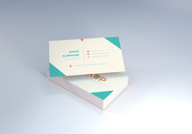 Clean float business name card mockup