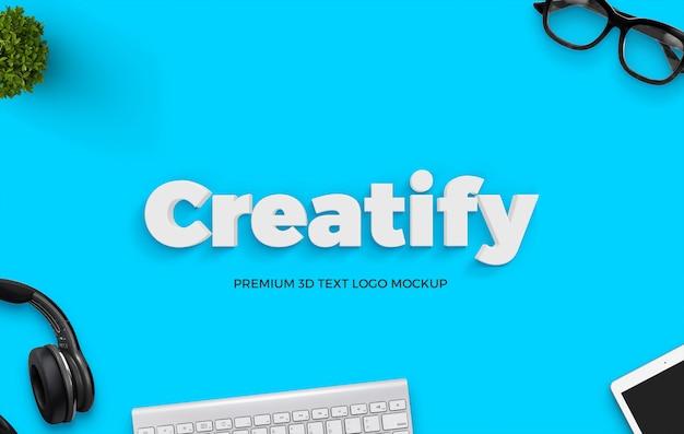 Clean minimal 3d text mockup