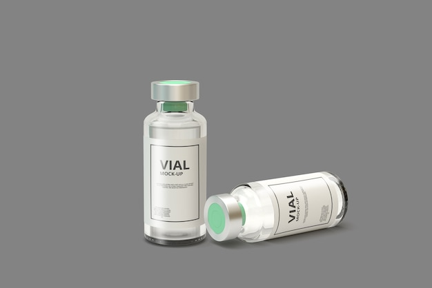 Clear glass medicine vial mockup