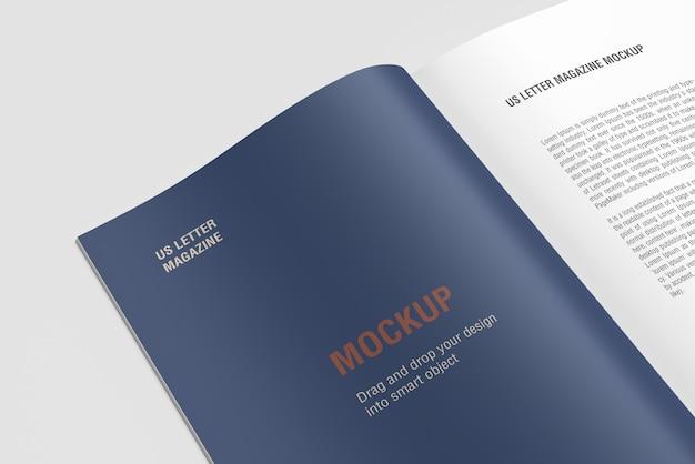 Close-up boek of tijdschrift psd mockup