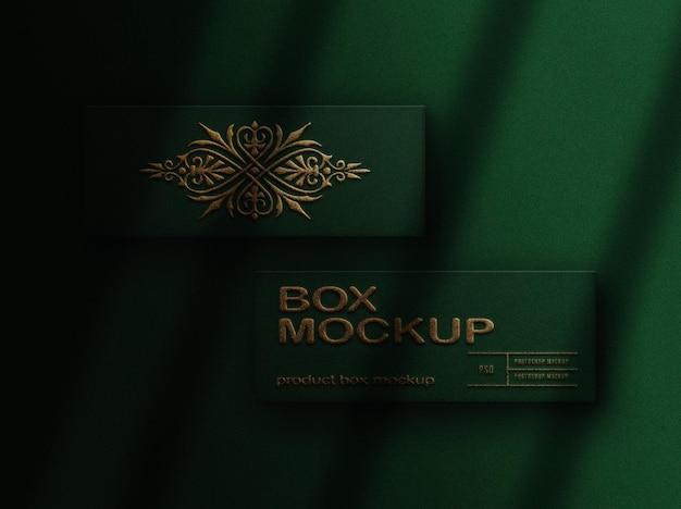 Close-up box mockup met goud reliëf bovenaanzicht