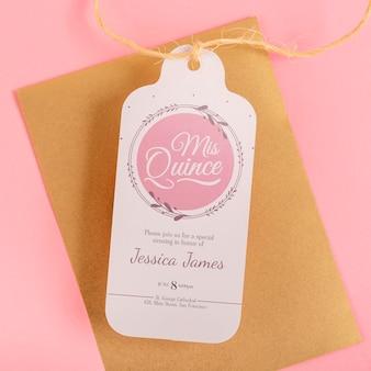 Close-up envelop en label voor 15e verjaardag evenement