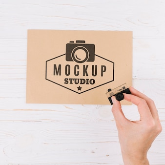 Close-up hand mockup studio