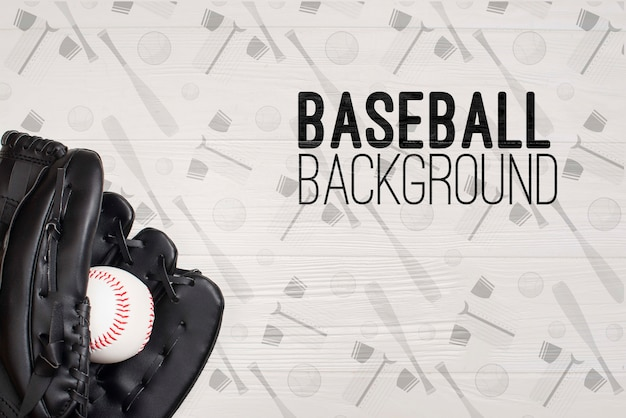 Close-up honkbalhandschoen en bal