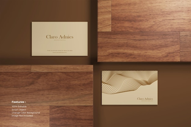 Close-up horizontaal visitekaartjemodel op hout