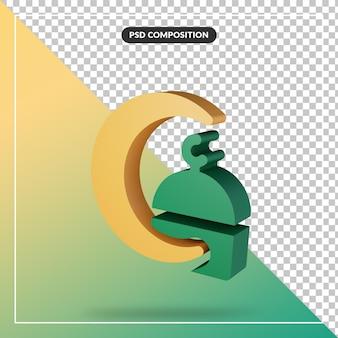 Close-up op 3d-rendering concept minimale moskee en halve maan