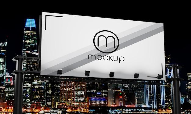 Close-up op billboard mockup ontwerp nacht stadslicht