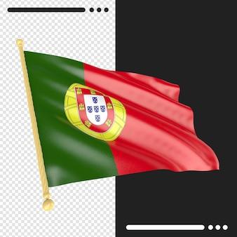 Close-up op de weergave van de portugese vlag geïsoleerd