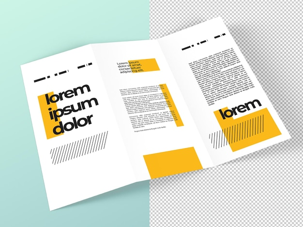 Close-up op driebladige brochure mockup geïsoleerd