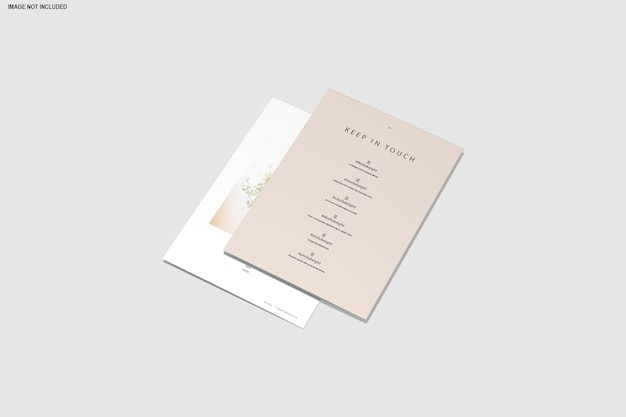 Close-up op driebladige mockup brochure geïsoleerd
