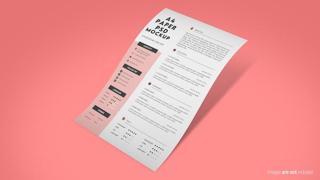 Close-up op drijvend papier mockup geïsoleerd