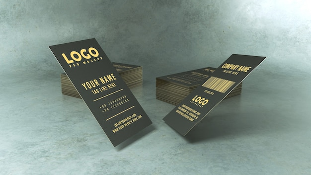 Close-up op flying business card mockup