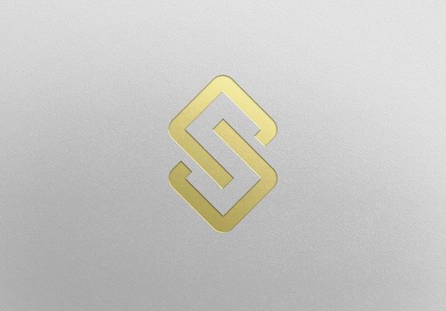 Close-up op gouden logo mockup-ontwerp