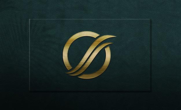 Close-up op gouden logo mockup
