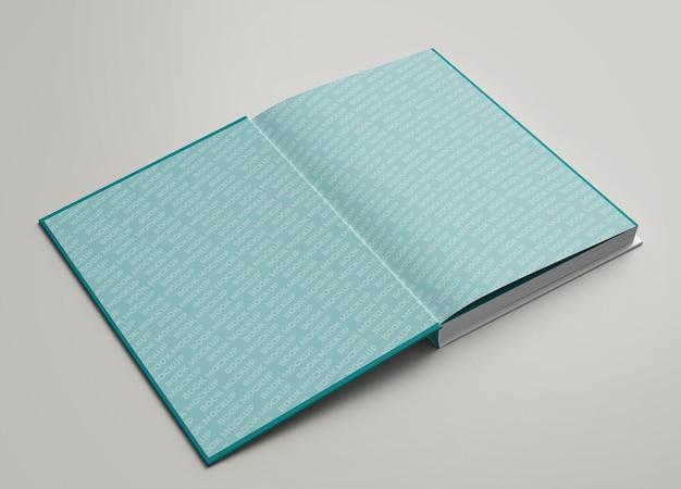 Close-up op hardcover open weergave binnenpagina's mockup
