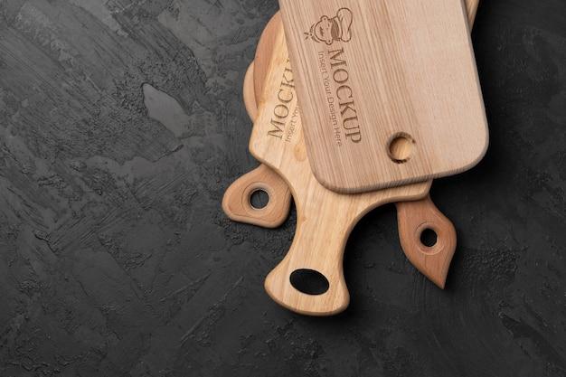 Close-up op houten snijplankmodel