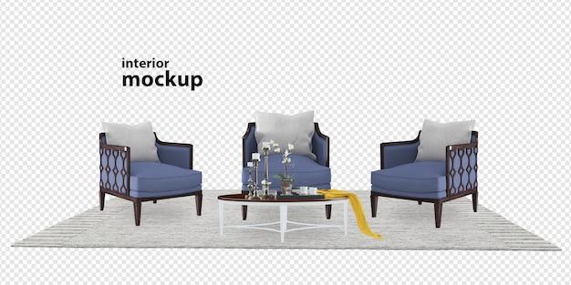 Close-up op interieur mockup 3d-rendering
