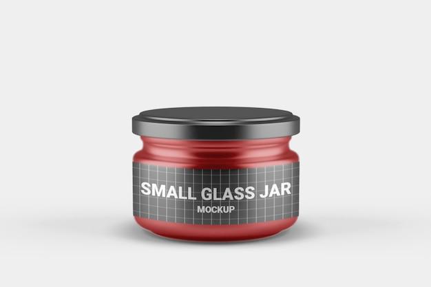 Close-up op kleine glazen pot mockup met deksel