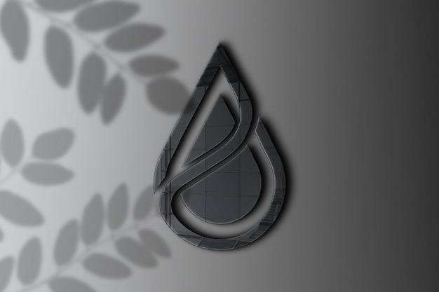 Close-up op logo mockup met glanzend effect