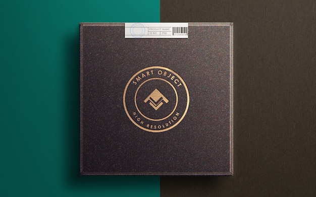 Close-up op logo mockup op luxe productdoos