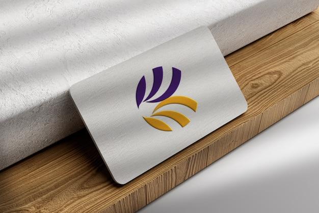 Close-up op logo mockup visitekaartje