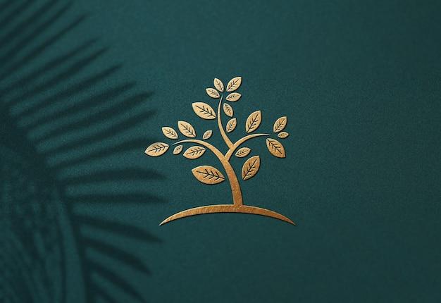 Close-up op luxe logo mockup-ontwerp