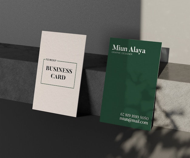 Close-up op minimalistische mockup voor visitekaartjes