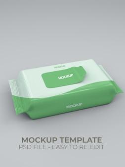 Close-up op mockup voor natte tissues