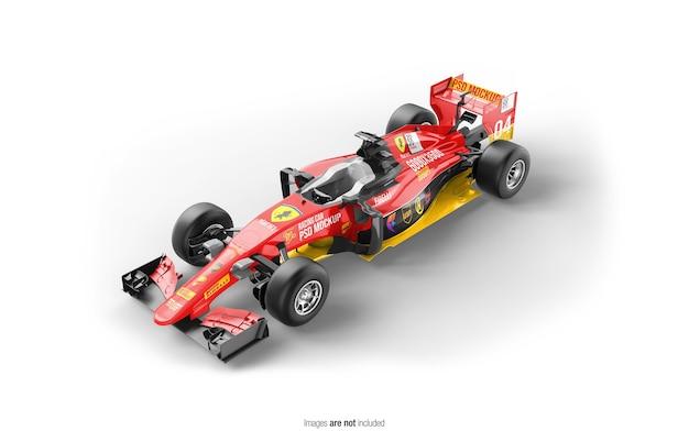 Close-up op racing f1 auto mockup geïsoleerd
