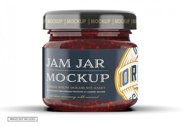 Close-up op raspberry jam jar mockup