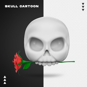 Close-up op schedel met roos in 3d-rendering