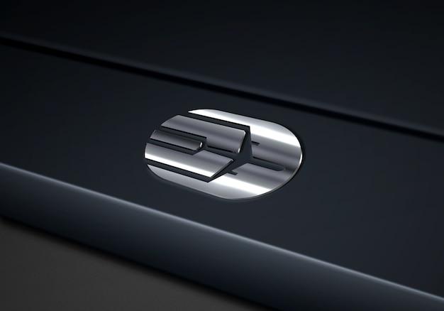Close-up op tech silver logo mockup