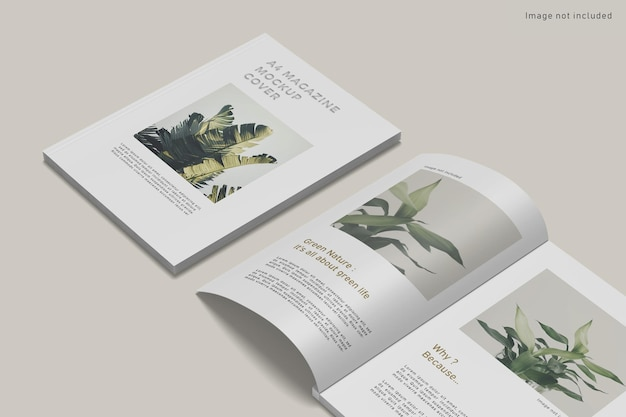 Close-up op tijdschriftdekking mockup geïsoleerd Premium Psd