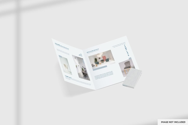Close-up op tweevoudig meubelbrochure mockup
