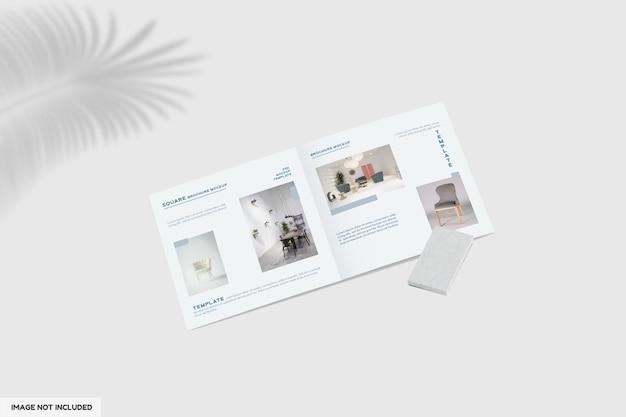Close-up op tweevoudige meubelbrochure mockup met perspectiefweergave